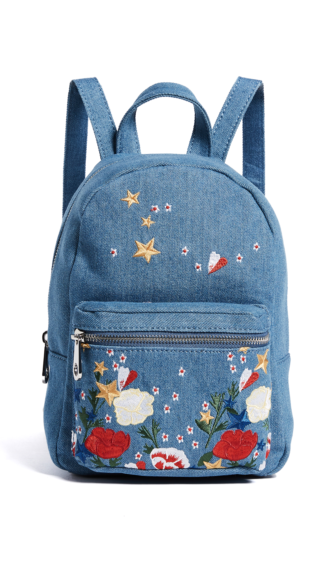 Studio 33 Denim Embroidery Mini Backpack - Denim