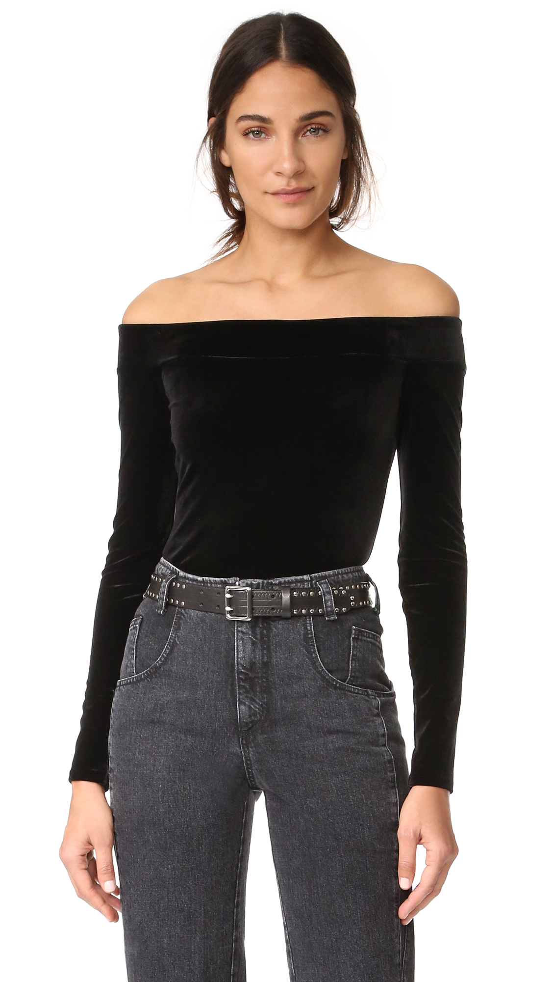A luxurious velour Bailey44 top in an alluring off shoulder profile. Long sleeves. Lined. Fabric: Velour. Shell: 90% polyester/10% spandex. Lining: 95% rayon/5% spandex. Dry clean. Made in the USA. Measurements Length: 16.5in / 42cm, from center back Measurements