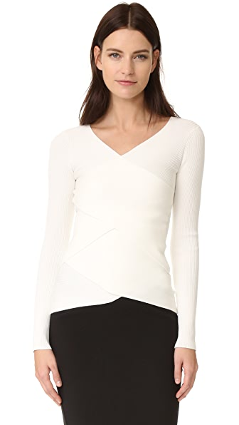 Bailey44 Reversible Ribbed Crossover Sweater - Cream