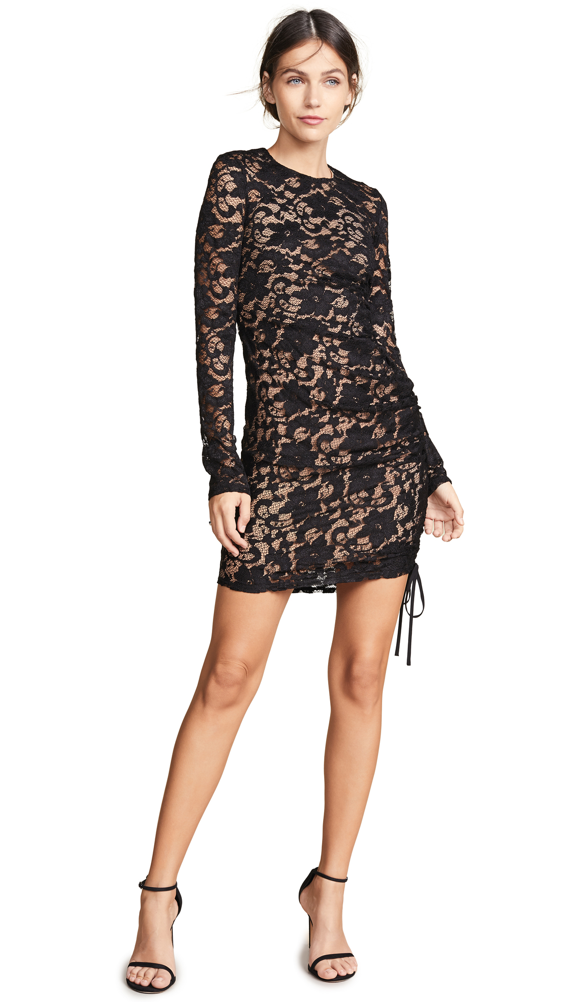 BAILEY44 Disinformation Ruched Drawstring Lace Dress in Black