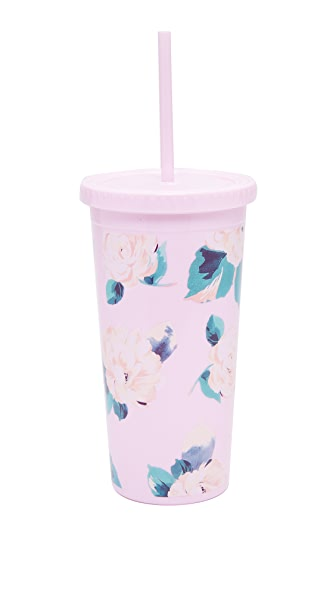 ban.do Lady of Leisure Sip Sip Tumbler with Straw - Pink Floral