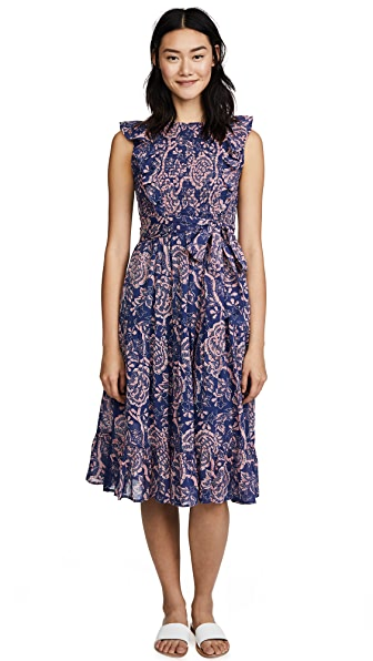 Banjanan Isla Dress In Coromandel Floral Blueprint