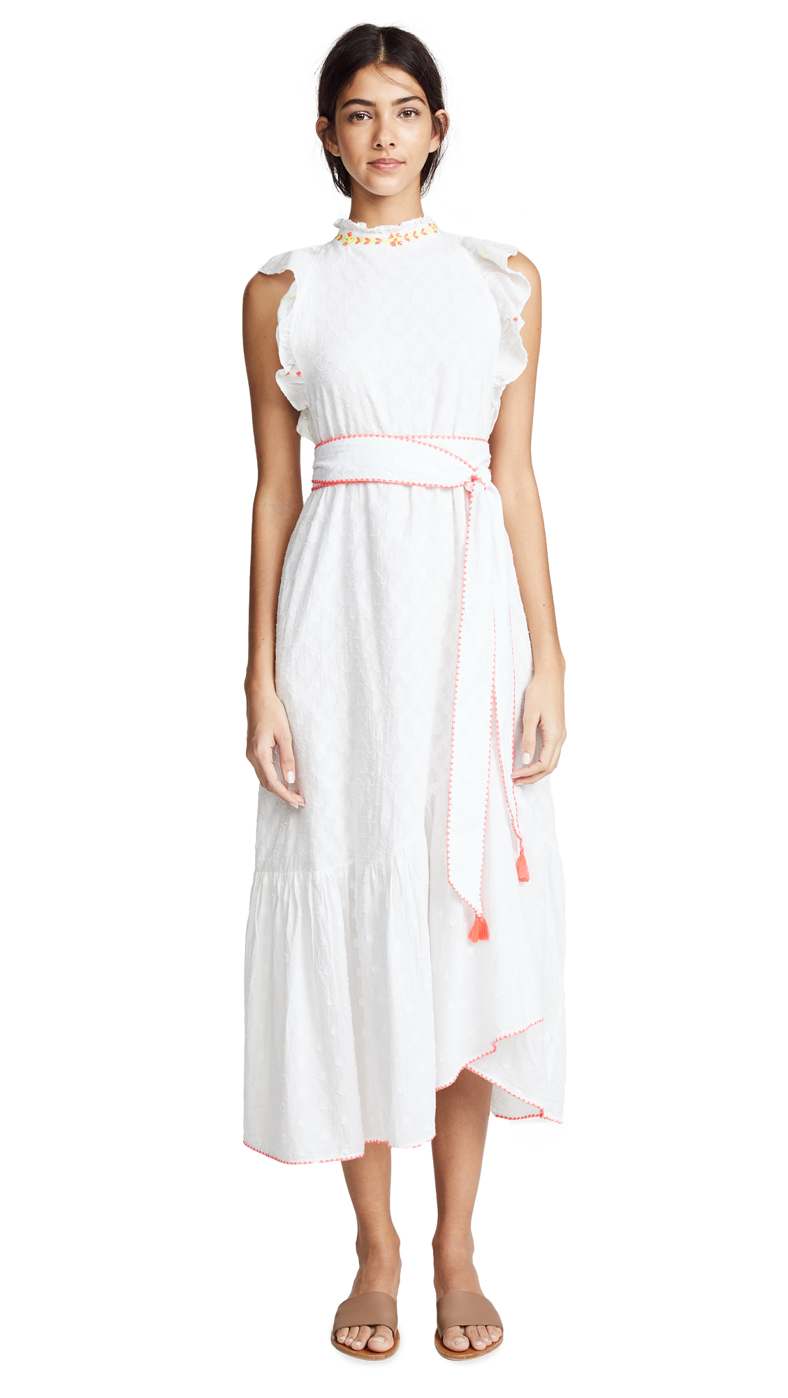 BANJANAN Bulbul Dress in White Cotton Dobby
