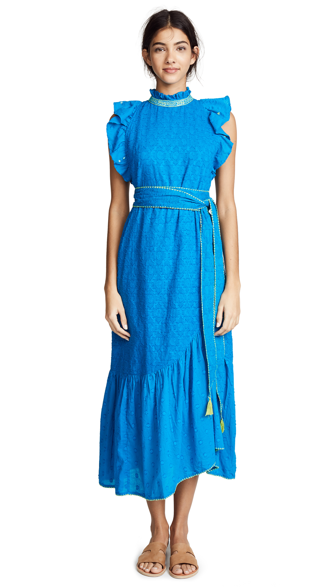 BANJANAN Bulbul Dress in Turquoise Cotton Dobby