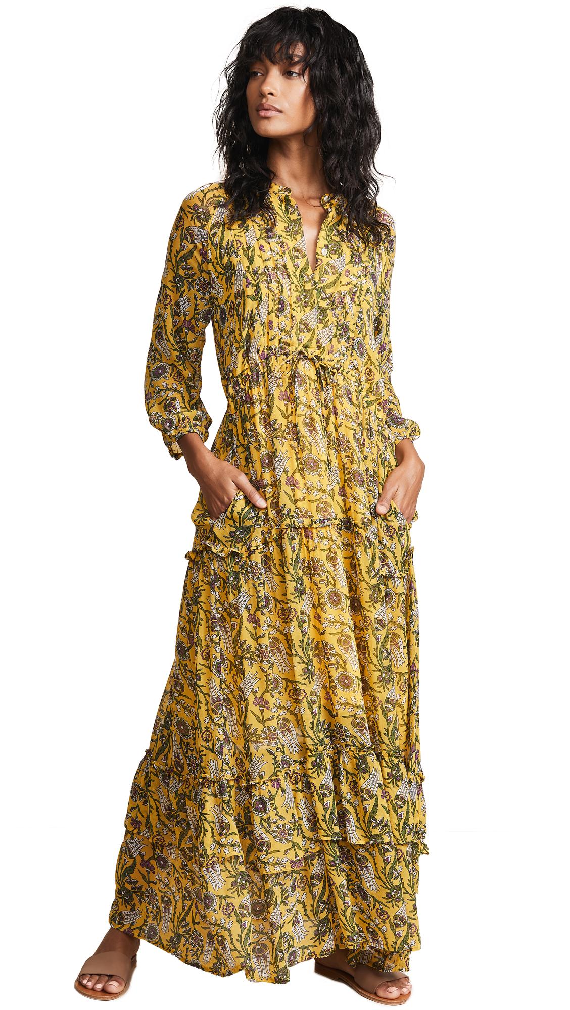 Banjanan Bazaar Dress In Orient Flower Mustard