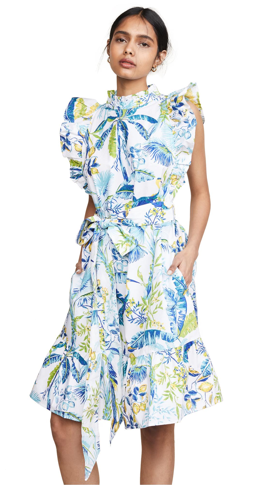 Banjanan Bulbul Knee Length Dress - Lisbon Garden White