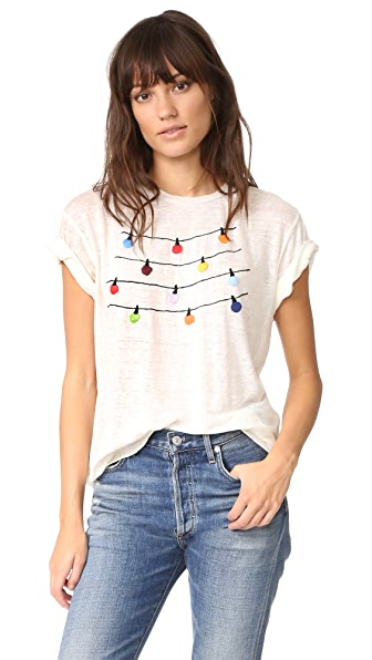 Banner Day Fairy Lights Embroidered Tee In Bone