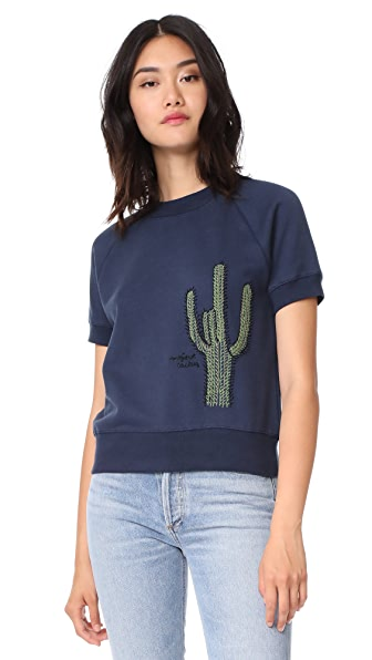 Banner Day Cactus Short Sleeve Sweatshirt - Navy