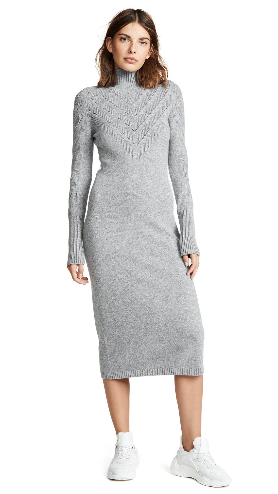 Barrie V Stripe Cashmere Turtleneck Dress