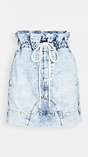 Bassike Motley Denim Paperbag Skirt