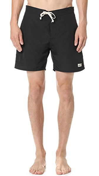 Bather Solid Black Surf Trunks