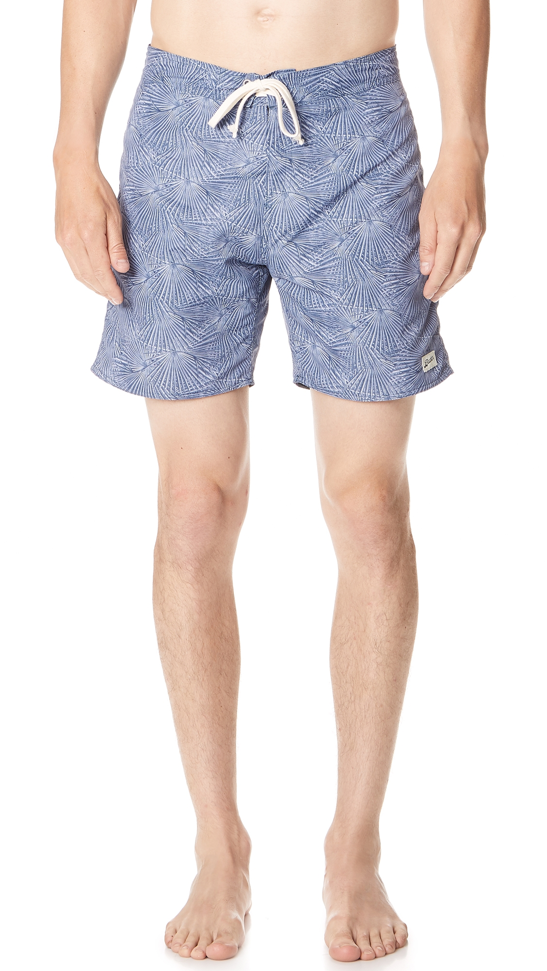 BATHER Painted Palms Swim Trunks in Blue