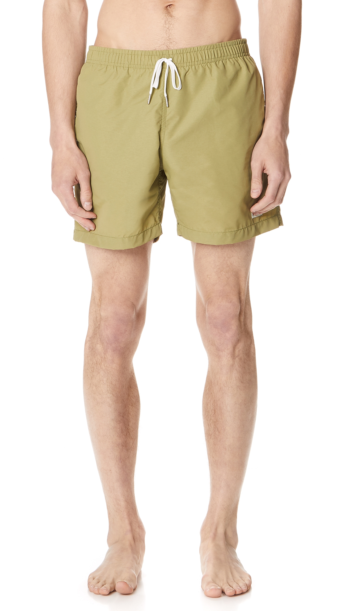 BATHER Solid Swim Trunks in Olive