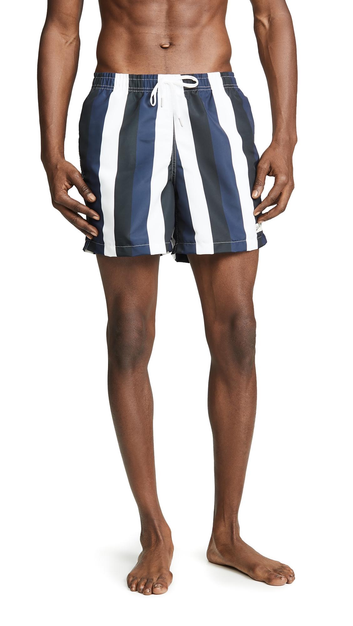 BATHER Blue Black Stripe Swim Trunks in Multi