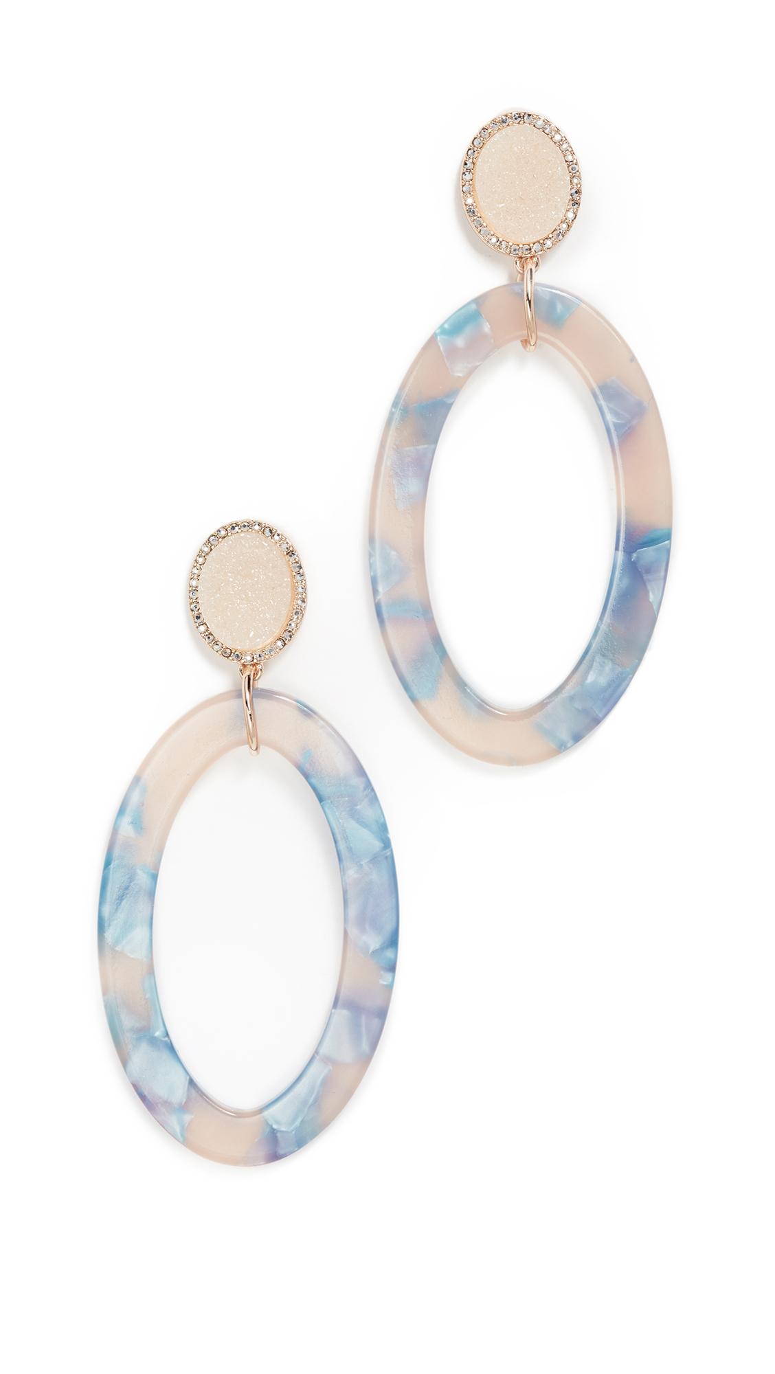 Triana Drusy & Oval Drop Earrings, Cream