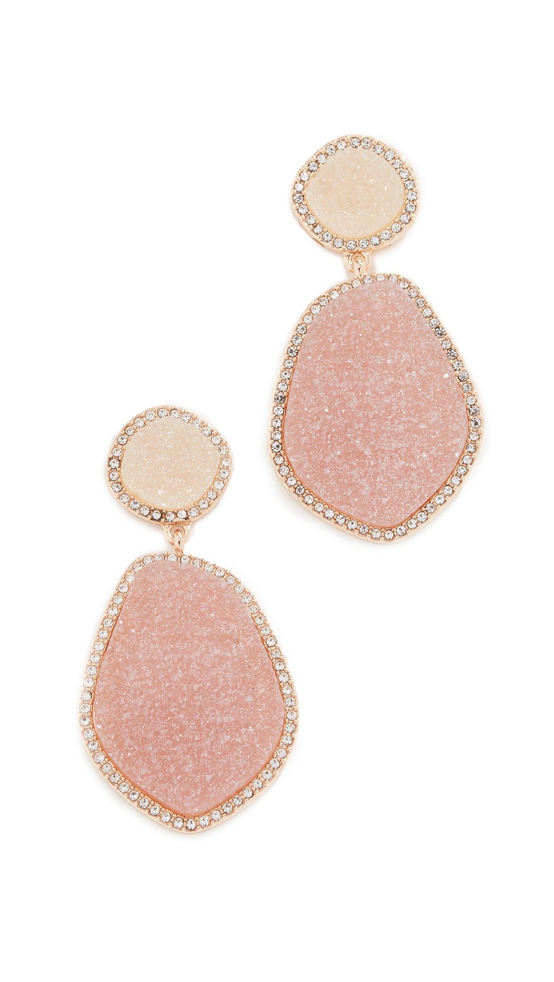 BaubleBar Vina Druzy Hoop Earrings In Pink