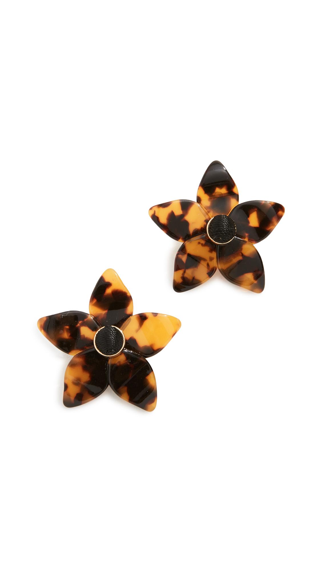 Ashaya Floral Resin Drop Earrings in Tortoise