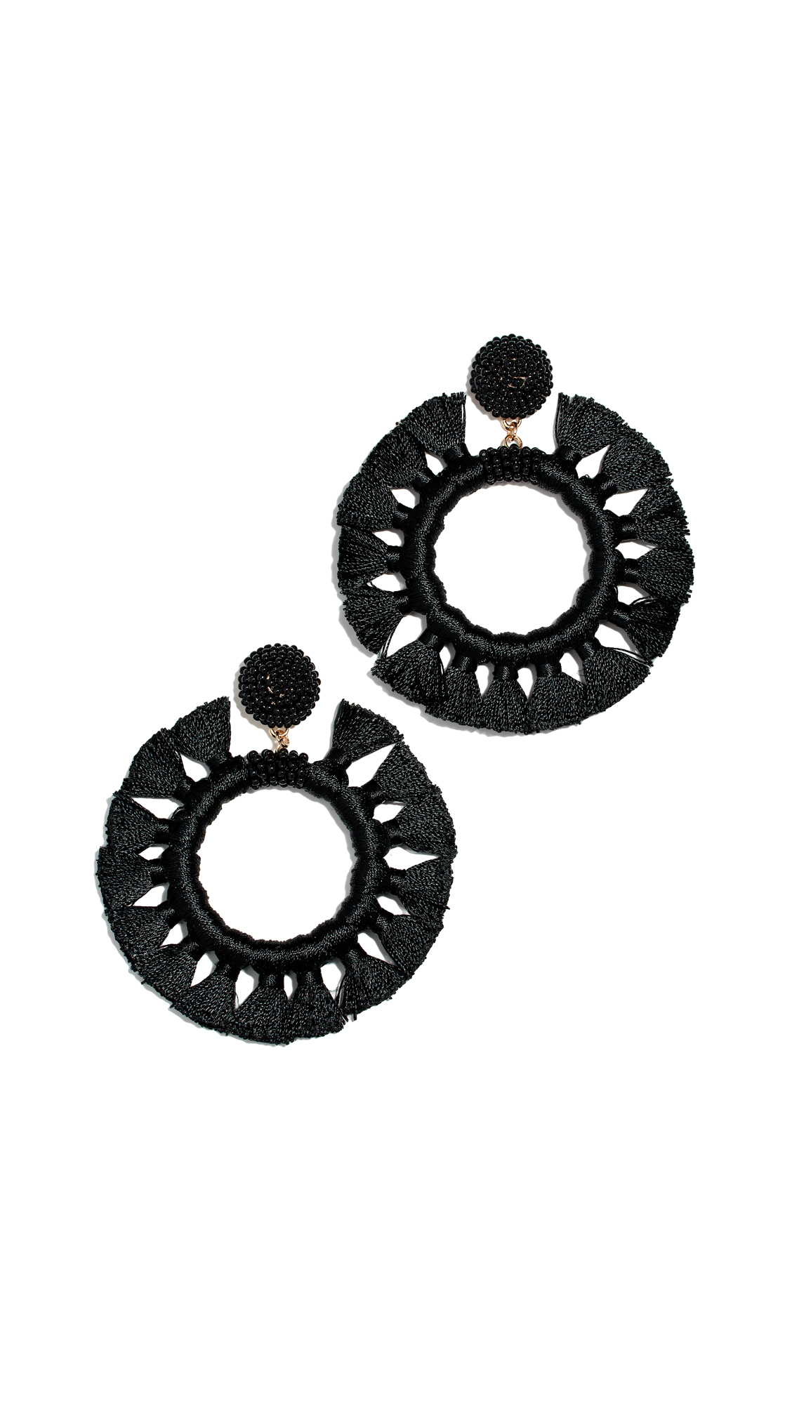 Beaded Tassel Hoop Earrings in Black