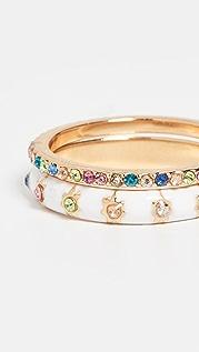 BaubleBar 珐琅和密镶戒指套装
