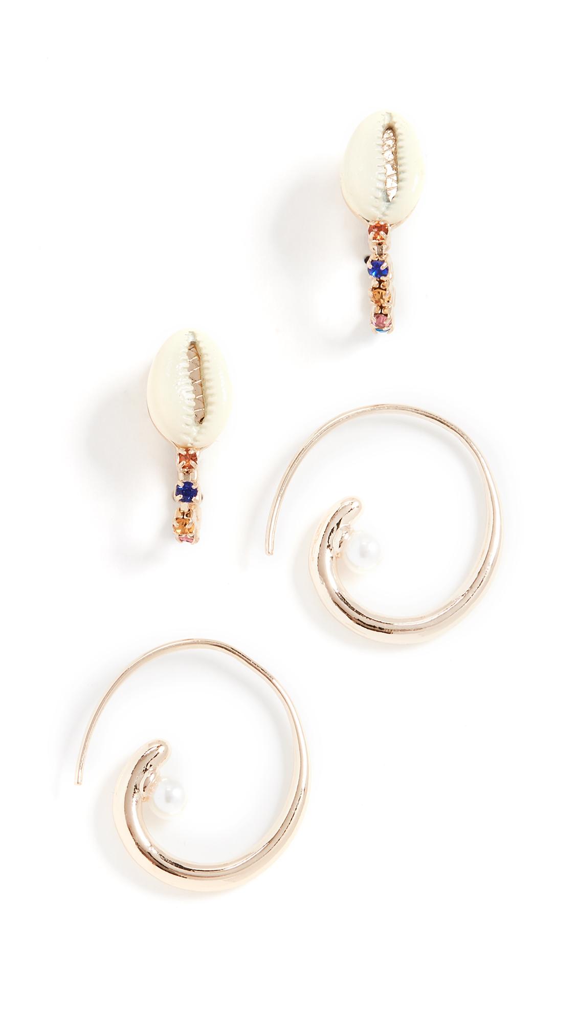 BaubleBar Set of 2 Coral Earrings - Multi/Gold