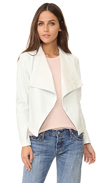 BB Dakota Peppin Vegan Leather Drapey Jacket - Dirty White