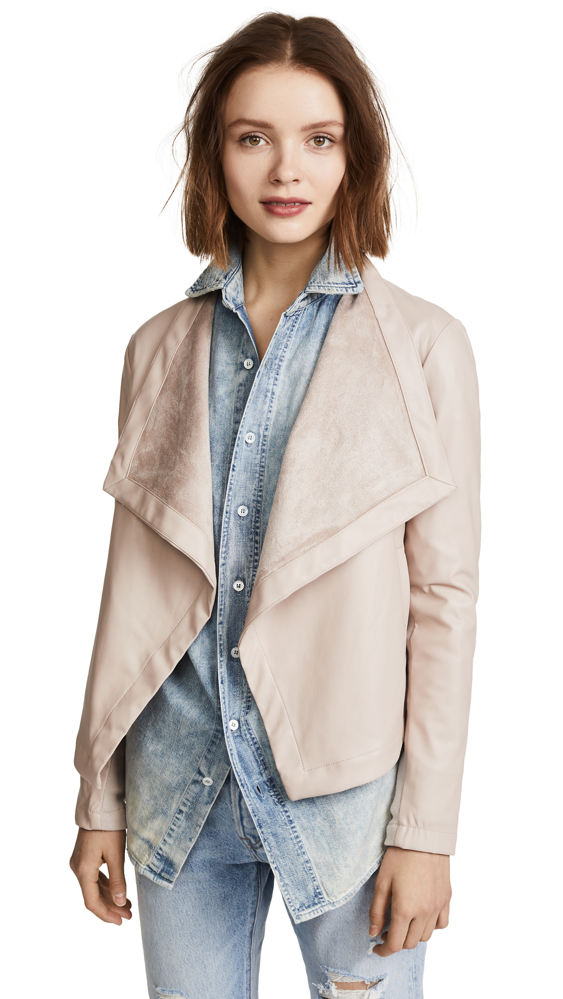 BB Dakota Peppin Vegan Leather Drapey Jacket - Parchment