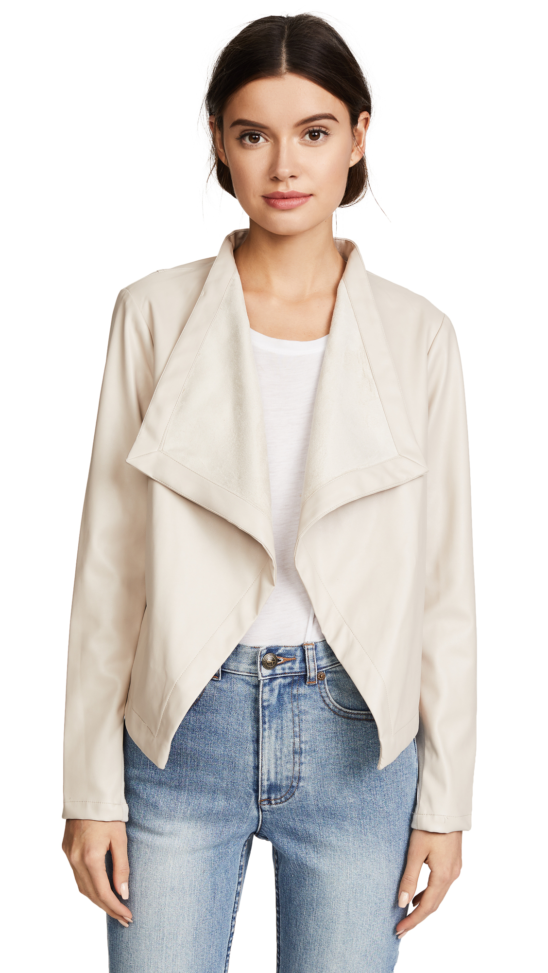 BB Dakota Peppin Vegan Leather Drapey Jacket - Bone