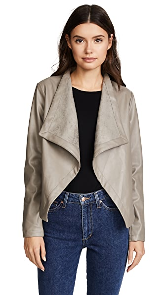 BB Dakota Peppin Vegan Leather Drapey Jacket - Toffee