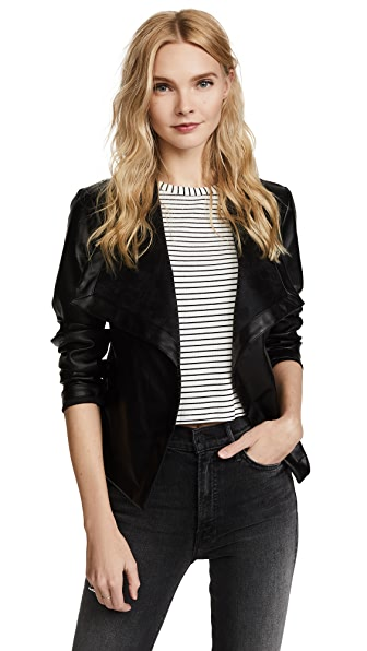 BB Dakota Peppin Vegan Leather Drapey Jacket - Black