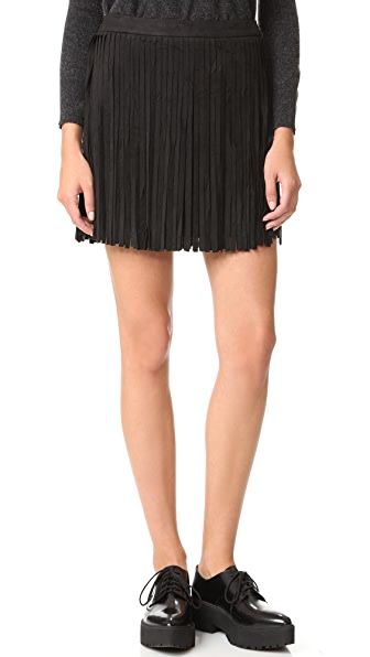 BB Dakota Barton Faux Suede Fringe Skirt - Black