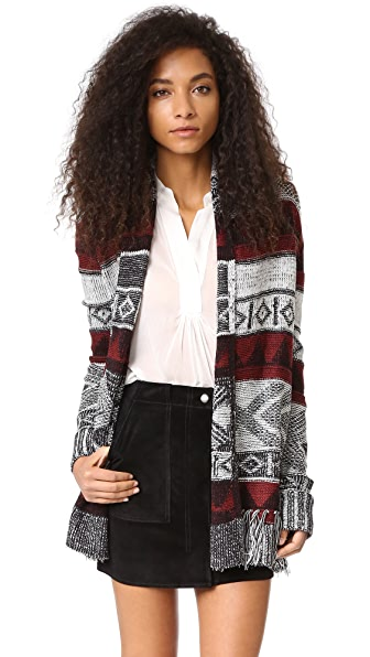 BB Dakota Loyd Patterned Fringe Cardigan