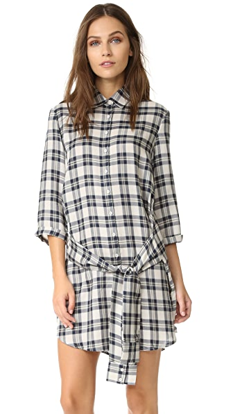 BB Dakota Claremont Plaid Tie Front Shirt Dress - Oatmeal