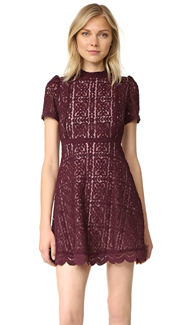 BB Dakota Adelina Mock Neck Lace Dress