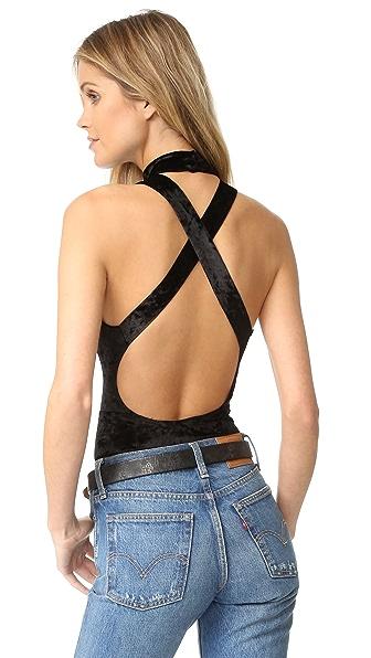 BB Dakota Hatherley Crushed Velour Bodysuit - Black