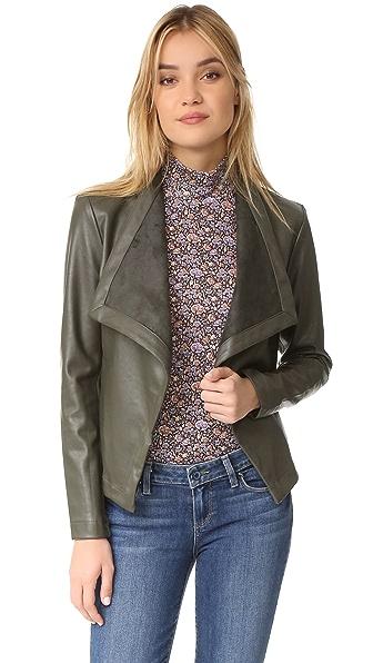 BB Dakota Peppin Drape Front Jacket - Army Green