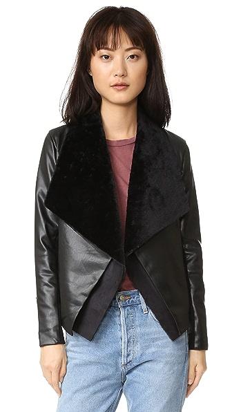 BB Dakota James Jacket with Faux Fur - Black
