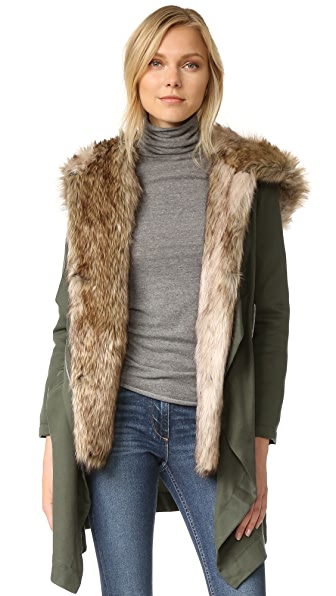 BB Dakota Gerrard Coat with Faux Fur - Army Green