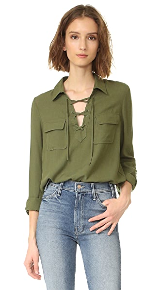 BB Dakota Jack by BB Dakota Nutmeg Lace Up Shirt
