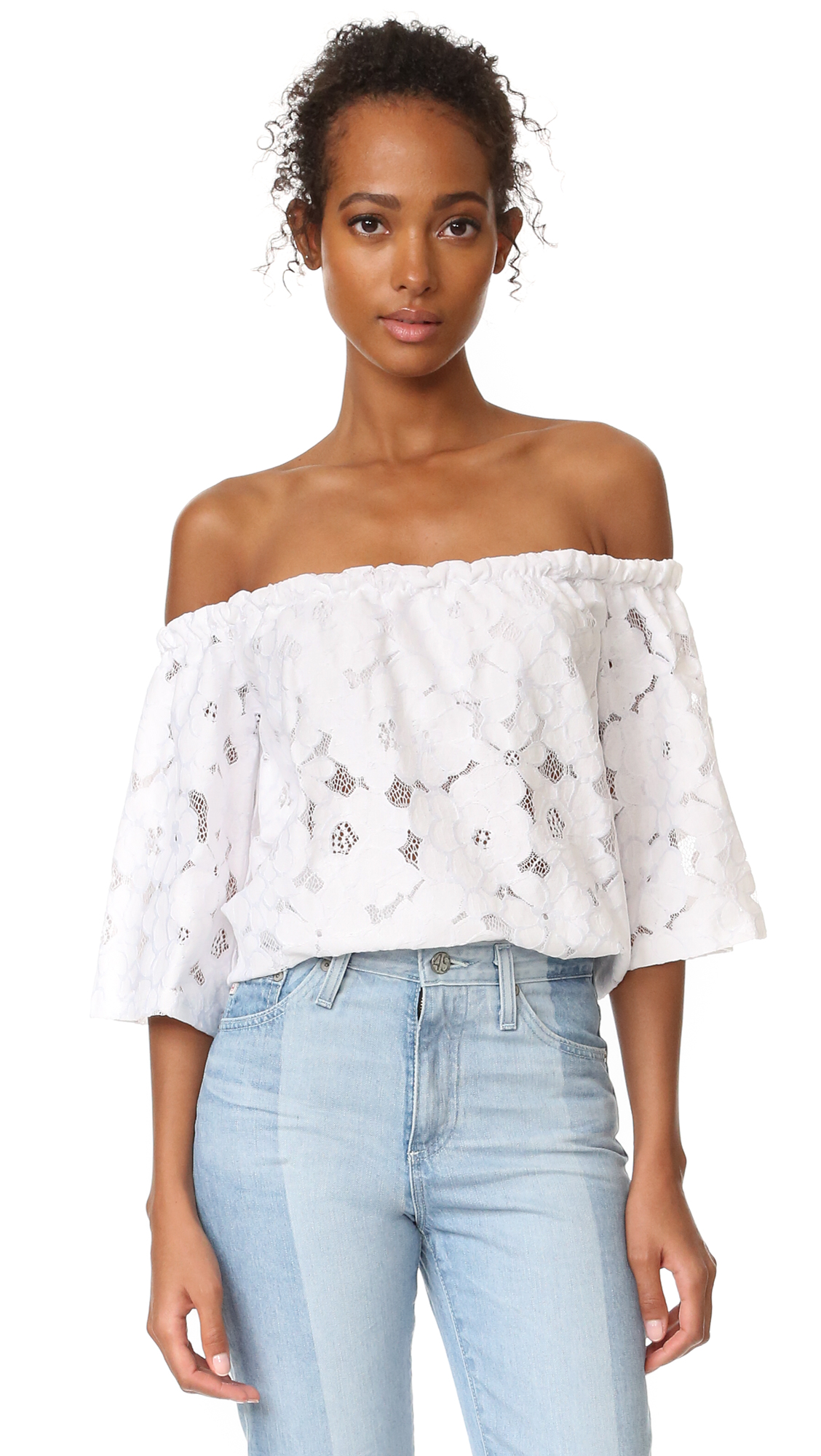 An off shoulder lace Jack by BB Dakota blouse in a swingy silhouette. 3/4 sleeves. Optional shoulder straps. Built in bandeau bralette lining. Fabric: Lace. Shell: 60% cotton/40% nylon. Lining: 95% rayon/5% spandex. Hand wash or dry clean. Imported,