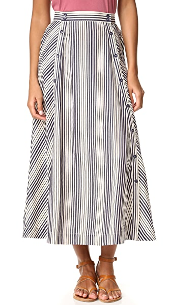 BB Dakota Jack by BB Dakota Norman Stripe Button Front Skirt