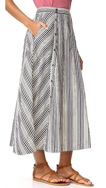 BB Dakota Jack by BB Dakota Norman Stripe Button Front Skirt
