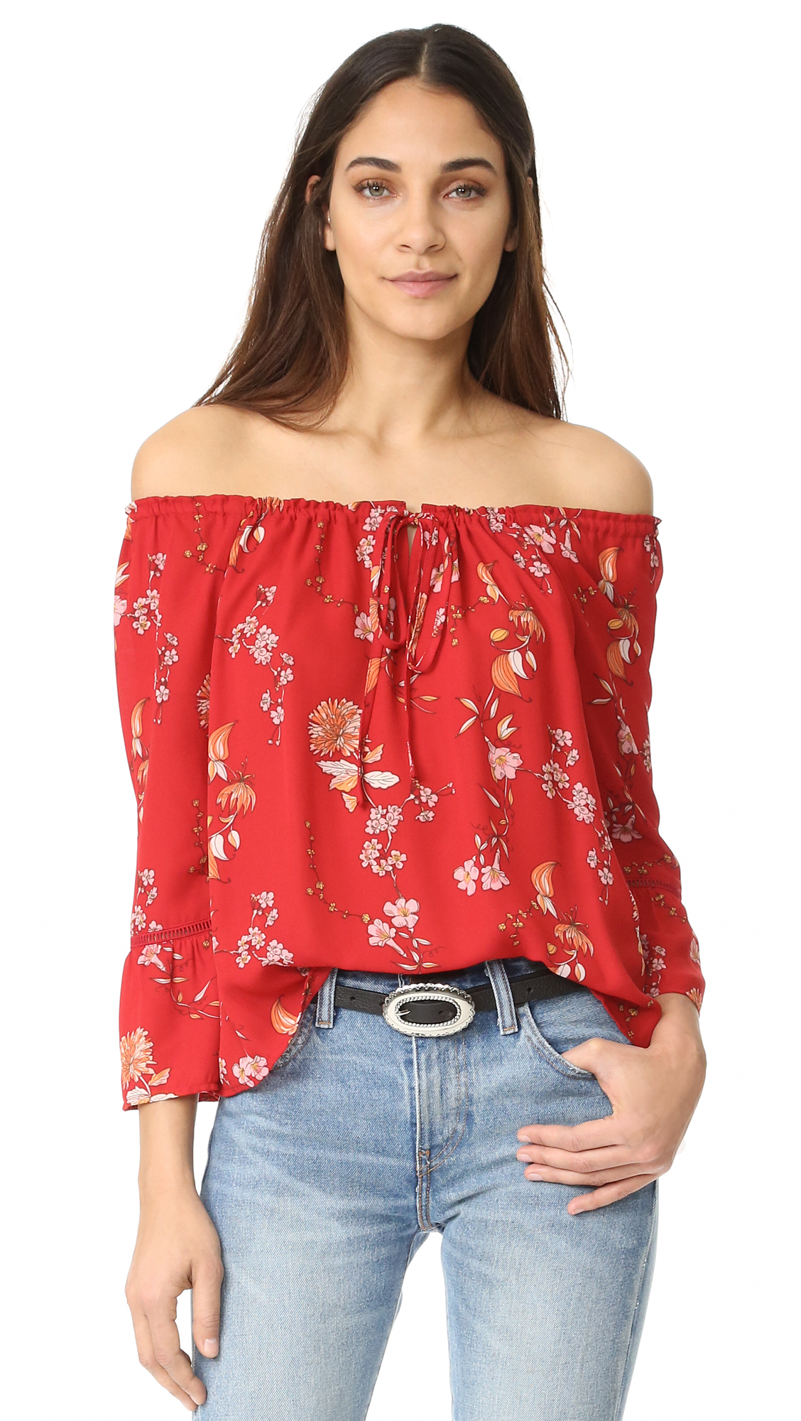 Exclusive to Shopbop. A floral BB Dakota blouse in a feminine, off shoulder silhouette. Covered elastic and a drawstring cinch the top hem. Long sleeves. Fabric: Slinky weave. 100% polyester. Hand wash or dry clean. Imported, China.