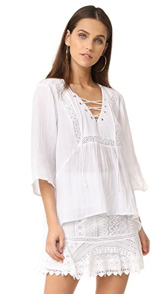 BB Dakota Jack by BB Dakota Geoff Lace Up Top - Bright White