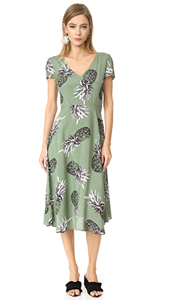 Emilienne Pineapple Printed Tie Back Dress