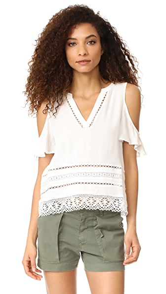 BB Dakota Alia Cold Shoulder Top - Optic White
