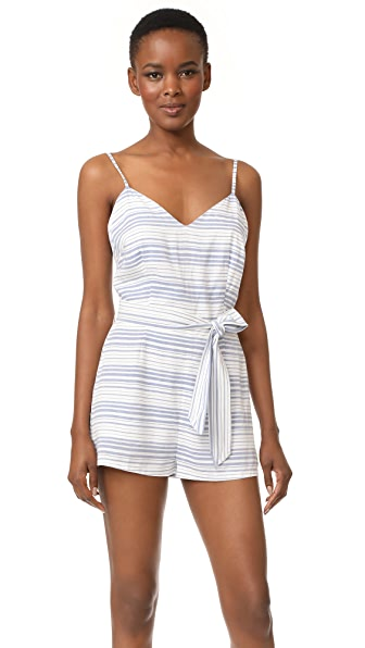 BB Dakota Gianna Striped Romper - Light Blue