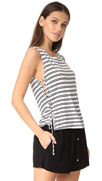 BB Dakota Jack by BB Dakota Loren Stripe Lace Up Side Tank - Bright White