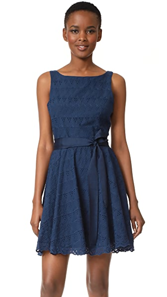 BB Dakota Ty Eyelet Trim Dress - Navy