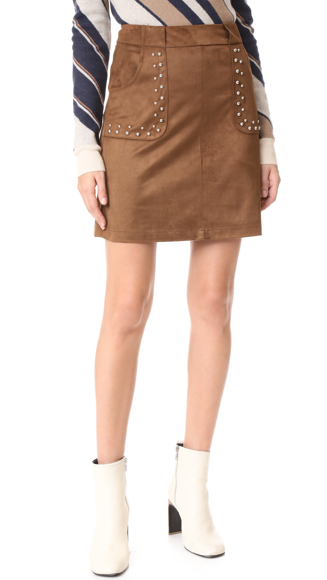 BB Dakota Cain Faux Suede Skirt - Antelope