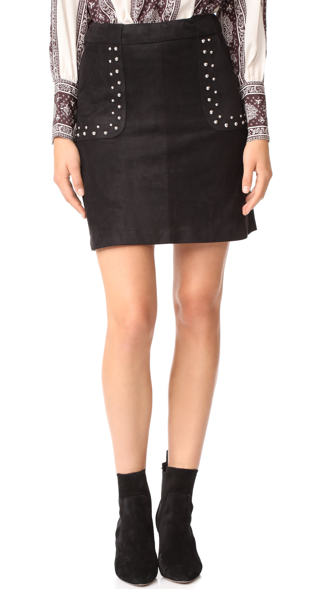 BB Dakota Cain Faux Suede Skirt - Black